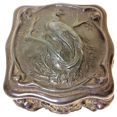 Victorian French Art Nouveau Cascade Trinket Jewelry Box With Peacock & Moon Decoration