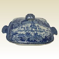Rare English Staffordshire Blue Covered Tureen Mausoleum of Sultan Pervez