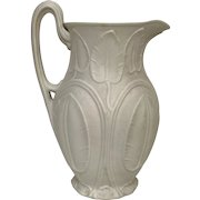 Circa 1860's Beautiful English Parian Ware Pitcher With Raised Lily Pad Decoration