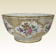 Large Dresden Porcelain Center Bowl W/ Hand Paint Flowers & Gold Decoration