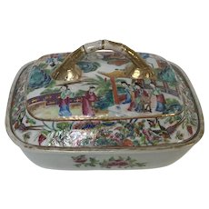 Antique 19th Century Chinese Porcelain Covered Vegetable Dish Tureen