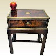Antique English Brass Bound Crotch Mahogany Lap Desk on Stand