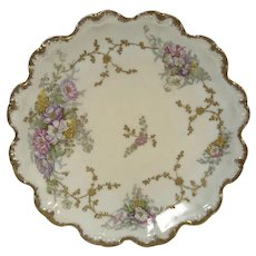 Hand Painted Flower Gold Decorated Limoges Plate