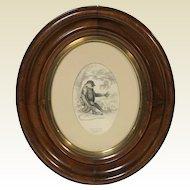 Mahogany Oval Frame 19th Century print of Nasalis Larvatus Kahau Proboscis Monkey