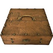 Antique Arts & Craft Oak Valuables Trinket Wooden Box With Bronze