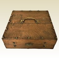 Antique Arts & Craft Oak Valuables Trinket Wooden Box With Bronze