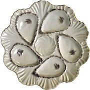 Antique French 6 Well Oyster Plate
