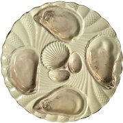 Antique French 4 Well Shell Oyster Plate
