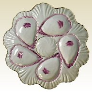 Antique French 6 Well Shell Oyster Plate Pink Purple Luster