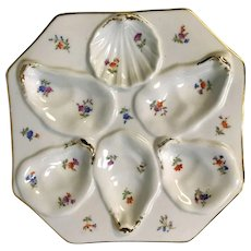 Antique German Dresden 6 Well Shell Oyster Plate Pink Blue Brown Color Decoration