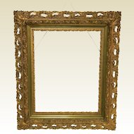 "Antique Gilded Carved Gessoed Frame for a 20"" by 16"" Art"