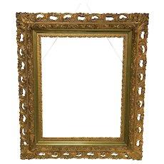 "Antique Gilded Carved Gessoed Frame for a 20"" by 16"" Art"