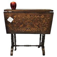 19th Century Dutch Inlaid Tuck-away Drop leaf Side Table
