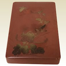 Vintage Japanese Lacquered Red Box with gold Flower Butterfly Decoration