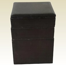 Vintage Japanese Black Lacquered 4 Part Stackable Box