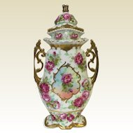 "13.5"" Austrian Porcelain Covered Vase Urn W/ Baltimore Rose & Gold Decoration Beehive mark"