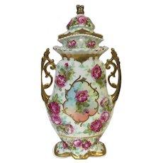 "13.5"" Austrian Porcelain Covered Vase Urn W/ Baltimore Rose & Gold Decoration Beehive mark"