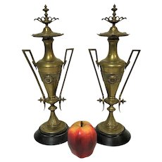 Pair of French Aesthetic Movement Brass & Marble Pedestal Urns With Greek Key Decoration - Red Tag Sale Item
