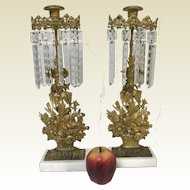 Pair of Victorian Gold Gilt Flower Basket Motif Girandoles Mantle Garniture Set with Snowflake Prisms