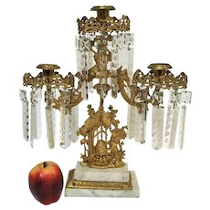 Victorian Gilt Girandoles Mantle Candelabra With Tree & Bear Reaching Beehive