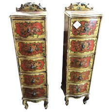 Pair Of Antique Tall Narrow Gessoed Country French Hand Painted 5 Drawer Side Hall Jewelry Chest