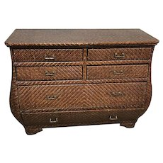 Large Hand Tied Wicker Bombay Chest of Drawer Dresser