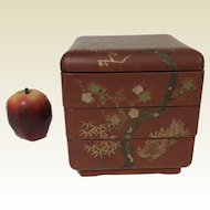 Antique Japanese Wooden Ware Red Lacquered Stacking 3 Tier Box W/ Apple Blossom