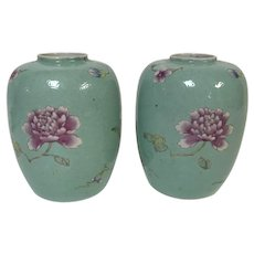 Pair of Chinese Porcelain Vases W/ Aqua Glaze & Flower Decoration