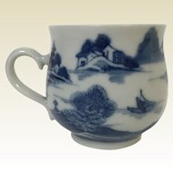 19th Century Chinese Canton Porcelain Blue Willow Demitasse Cup