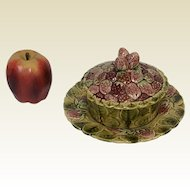 Sarreguemines France Majolica Cookie Box W/ Attached Underplate Strawberries
