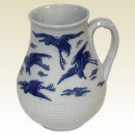 Circa 1860's Minton Rare Flow Blue Stork Pattern Pitcher Jug