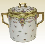 Richard Klemm Dresden Covered Cookie Jar With Gold & Flower Decoration