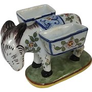 Cute French Faience Quimper Pottery Figural Donkey Salt & Pepper Cellar