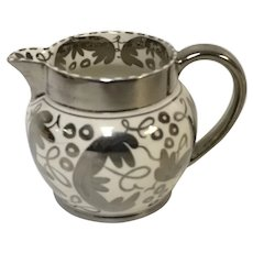 Wedgwood of Etruria & Barlaston Creamer Pitcher Silver Overlay Luster