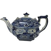 Early 19th C. English Dark Blue Staffordshire Teapot Transferware Pearlware W/ Chinese Vase Motif