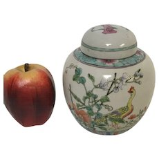 Vintage Chinese Porcelain Ginger Jar With Bird Flower Decoration