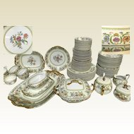 83 Piece Vignaud's Limoges Hand Colored Flower Design Service for 10 Porcelain Dinner Set With 11 Serving Pieces