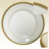 "Set of 4 Limoges Porcelain Dinner Luncheon Plate 8.5"" Gold Banded"
