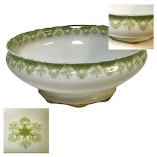 Haviland Limoges Porcelain Round Green Ribbon Footed Soup Bowl