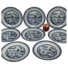 "Set of 8 19th Century Chinese Canton Porcelain 10"" Dinner Plate"