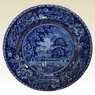 Early 19th Century Dark Blue Stafforshire R Halls Plate Picturesque Scenery