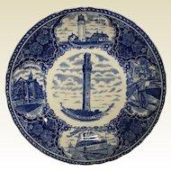 C1900 Flow Blue Provincetown Ma Souvenir Plate