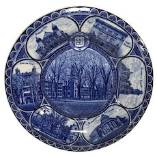 Yale University Flowblue R&m Rolled Edge Souvenir Plate