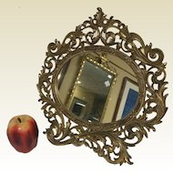 Large Antique Gilded Brass Frame Rococo Style Table Mirror