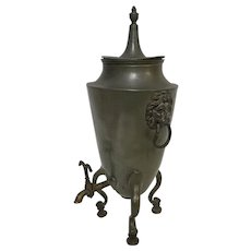 Circa 1800 English Pewter Samovar with Lion Handles