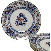 "Set of 4 Antique Mintons Flow Blue & Polychrome Lyre 10"" Dinner Plates #8667"