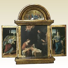 Vintage Gilt Italian Florentine Religious Triptych Madonna Mary Angel Icon