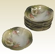 Set of 9 Rs Prussia Porcelain Berry Fruit Bowls With Rose Decoration