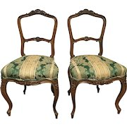 Pair of Early 20th Century Carved Louis Xv Side Chairs