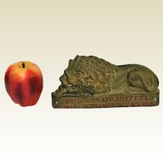19th Century Burys & Co. Ltd Advertising Cast Metal Lion Plaque Advertising (Tool Manufacturer)